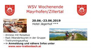 Ankündigung WSV-Wochenende im Zillertal